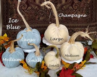 VELVET Pumpkins Blue, White, Orange, Champagne, Green, Cinnamon Pumpkins Thanksgiving Centerpiece Fall Home Decor Wedding Pumpkins