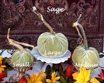 Sage VELVET Pumpkins Real Stems Gold Pumpkins Best Seller! Thanksgiving Table Centerpiece Fall Home Decor Hostess Gift Wedding Pumpkins