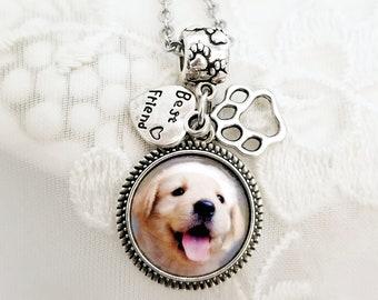 Photo Charm Necklace Dog Picture Charm Pet Memorial Jewelry Sympathy Gift Photo Necklace Charms fit Pandora bracelet