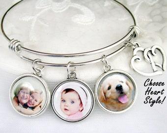 Custom Photo Bracelet Mothers Picture Charm Jewelry Grandmom Gift Custom Photo Jewelry Wife Charm Bangle Photo Gift Memory Jewelry