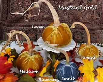 VELVET Pumpkins Real Stems Mustard Gold, Green, Raspberry, White Pumpkins Best Seller! Thanksgiving Table Centerpiece Wedding Pumpkins