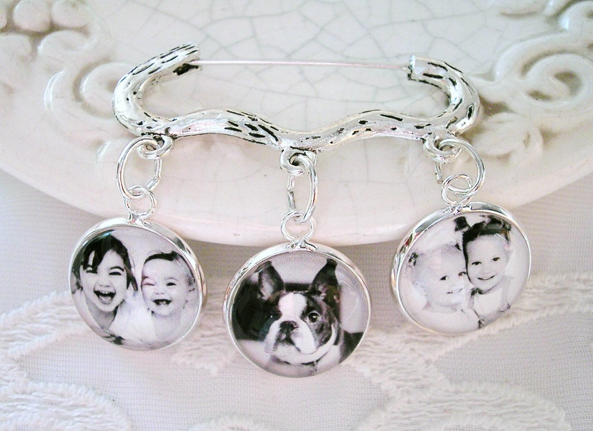 Grandmother Wedding Gift: Photo Charm Brooch Keepsake Gift For Grandmother Wedding