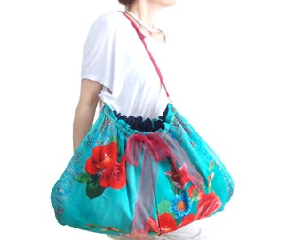 Turquoise Big Tote Bag, Genuine Leather and Gold Handle, Organic Large Hobo Bag, Vibrant colors Floral Tote Bag, Scarf Bag