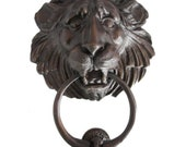 Large American Cast Bronze Lion Head Door Knocker Striker Plate 6 available