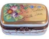 Limoges. Vintage French Chamart Hand Painted Porcelain Mother 39 s Day Trinket Dresser Box