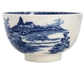 Worcester Dr. Wall. 1775-80 English Blue and White Porcelain Fisherman and Cormorant Tea Bowl Teacup