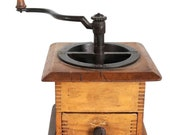 Antique American Victorian Iron Hand Crank and Maple Box Coffee Mill Grinder Circa 1890