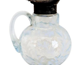 Antique Northwood Blue Opalescent Glass and Tin Daisy and Fern Syrup Pitcher Pourer