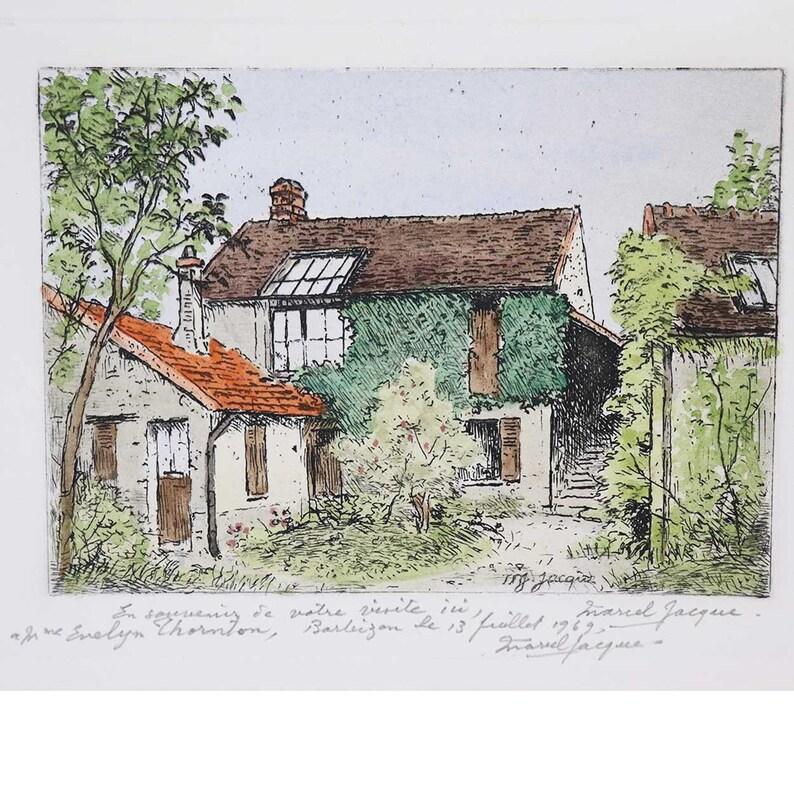 La Maison de Theodore Rousseau a Barbizon Vintage MARCEL JACQUE Hand Colored Etching