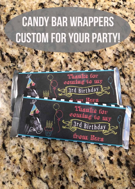 Kentucky Derby Themed Birthday Chocolate Bar Wraps