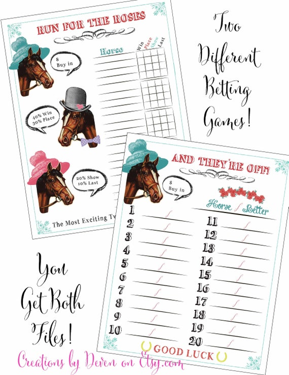 Kentucky Derby Party Printable Betting Sheets Betting Games Digital Files Instant Download