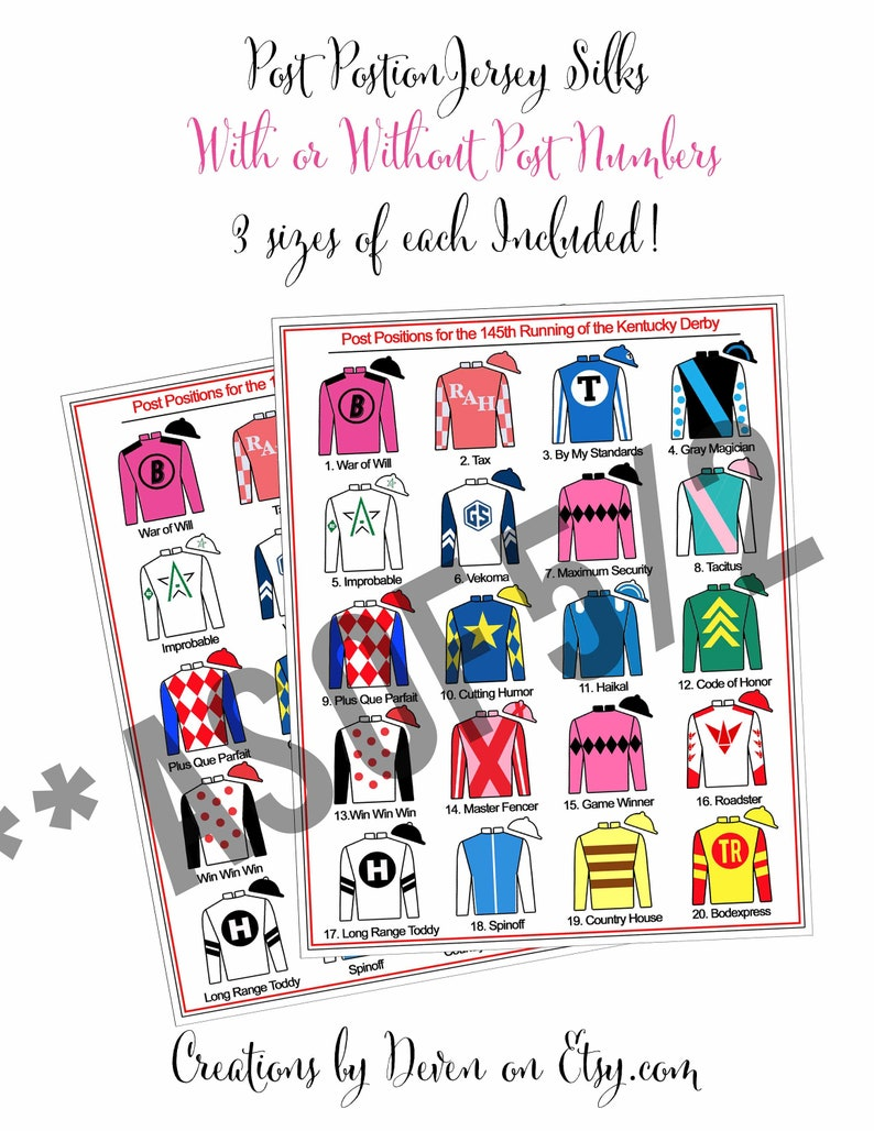 photograph relating to Kentucky Derby Post Positions Printable identified as Kentucky Derby Get together Printables Article Jobs Jockey Jersey Silks Indication 8x10, 16X20, 24X30\