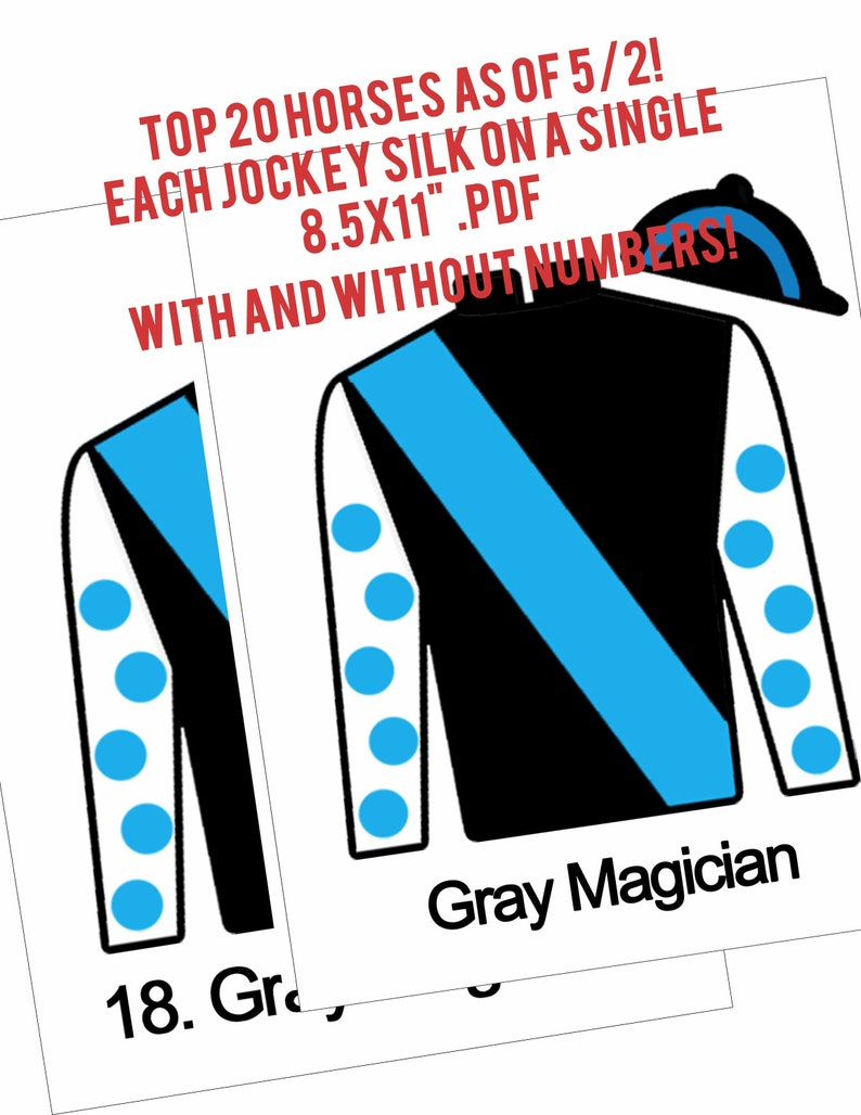 photo about Kentucky Derby Post Positions Printable called Kentucky Derby Bash Printable Leaderboard Jockey Jersey Silks 20 one information Derby Game titles