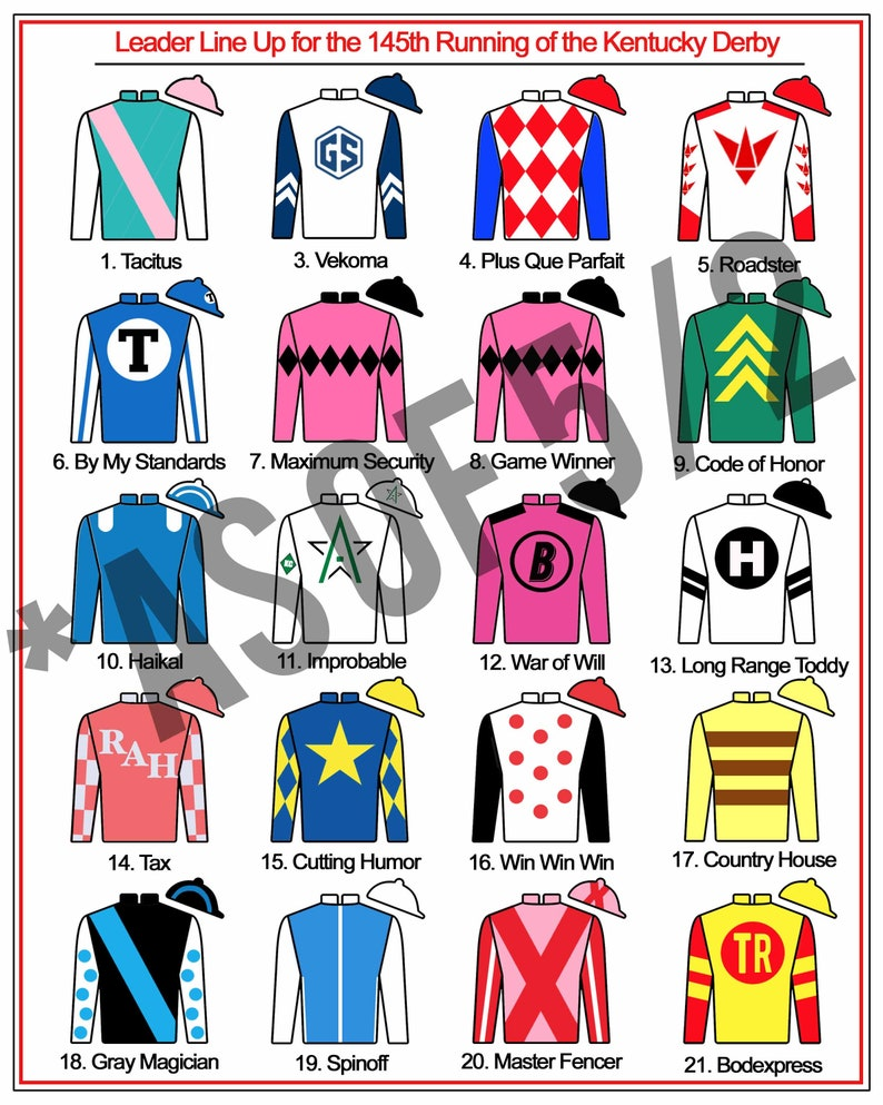 photograph regarding Kentucky Derby Post Positions Printable named Kentucky Derby Get together Printables LEADERBOARD Jockey Jersey Silks Indication 8x10, 16X20, 24X30\