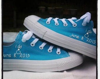 Custom Wedding Sneaker Embroidery with Swarovski Crystals (SHOES NOT INCLUDED)