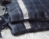 Two Checks Denim Blue Pillow Cases. Handmade Lace and Ties. Queen Size