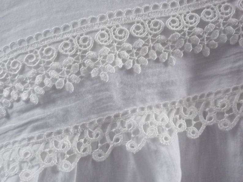White linen pillowcase with double lace Standard Queen King.