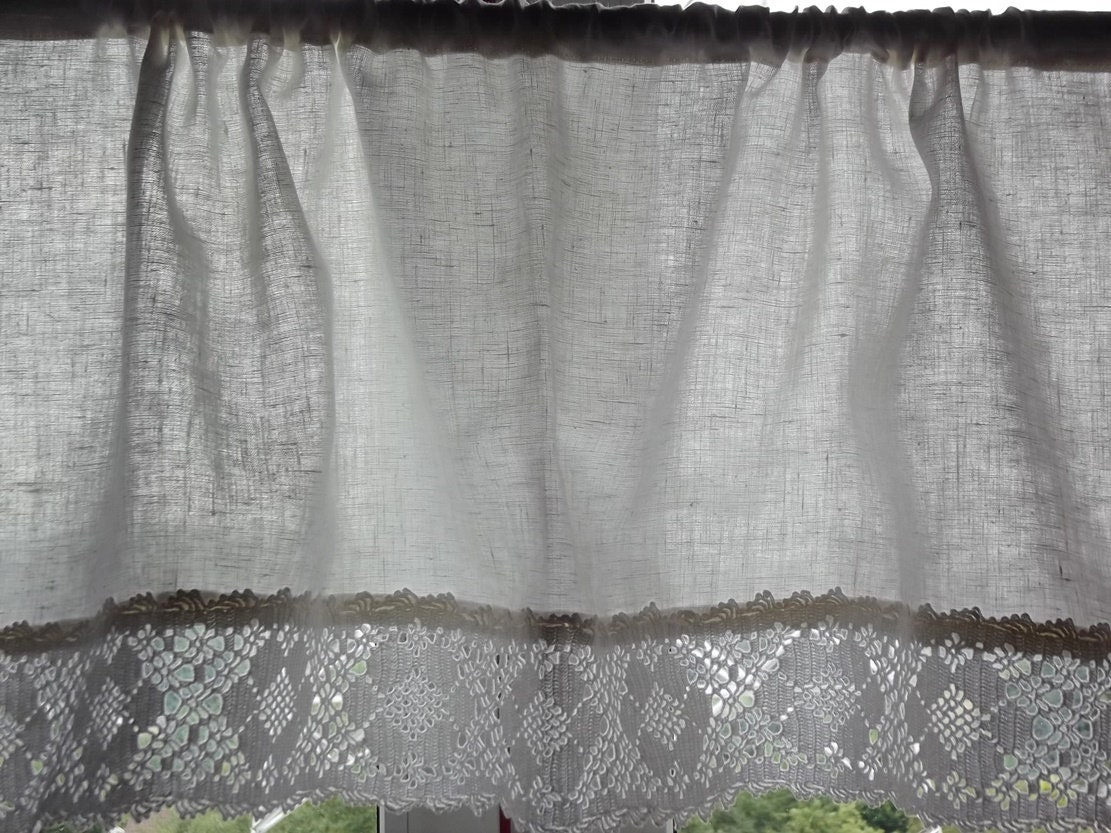 Leinen Vorhang. Weißen Vorhang. Leinen Küche Volant. Vorhang w