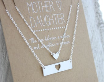 Mother Daughter Necklace Set - Mother's Day Gift - Gift for her - Necklace Gift Set - Wedding Jewelry - From Daughter For Mom - For Daughter
