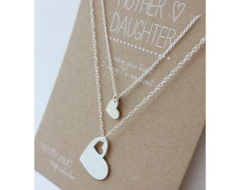 Mother Daughter Necklace Set - Wedding Jewelry Gift - graduation gift - gift for her - daughter gift - gift for mom - mother of the bride