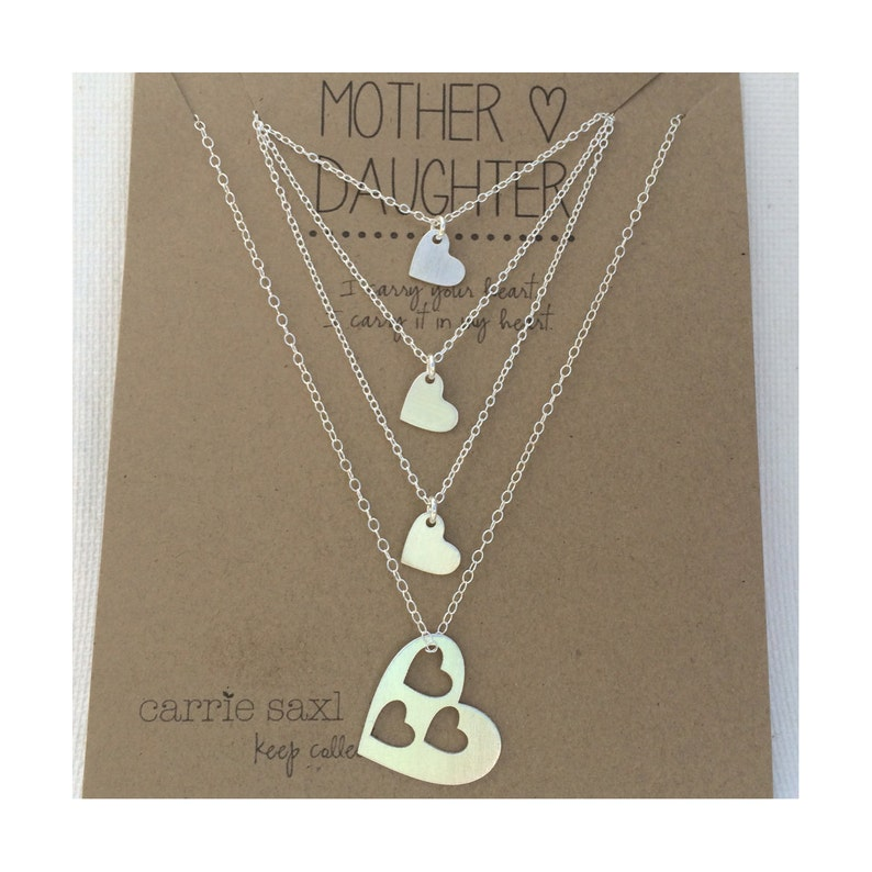 3ecc8682d6cfc Mother Daughter Necklace Set - mother 3 daughters - silver hearts - mom  necklace - mother daughter jewelry - mom gift - Christmas Gift