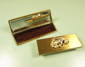 Compact Brush Comb Mirror - Vintage Gold Tone Pearl Rhinestone