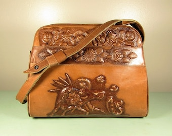 617ae8f1cc67 Mexican Tooled Leather Purse - Vintage Matador Rose Aztec Calendar Large  Multi Pocket