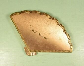 Henriette Fan Compact - Vintage Makeup Powder Personalized Rose Gold Tone
