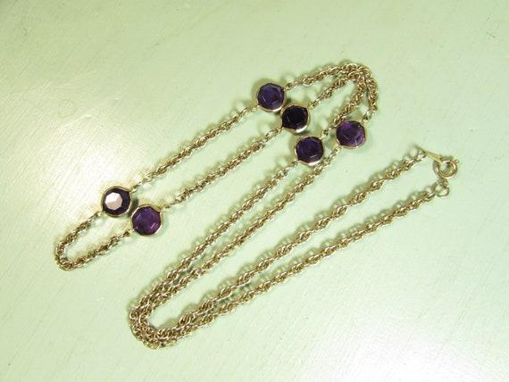 Purple flower and green stone open bezel necklace