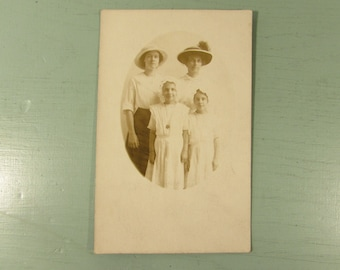 RPPC Family - Vintage Picture Postcard Mother Daughter Hats