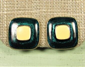 Teal Green Square Earrings - Vintage Cream Enamel Gold Tone