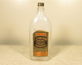 Household Ammonia Bottle - Vintage Poison Clear Glass Advertising Label