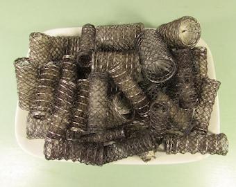Wire Mesh Hair Rollers - Vintage Brown Bottle Brush Curlers