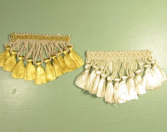 Tassel Trim Remnants - Vintage Gold Yellow Off White