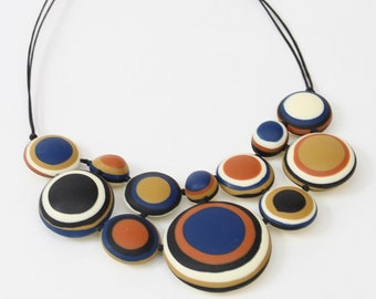 Multicolor Statement necklace, artistic necklace, Yellow necklace, blue necklace, cream necklace, funky statement jewelry for women