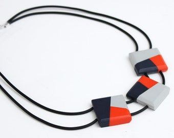Orange Chunky Necklace, navy statement necklace , Grey  bold necklace, Modern Necklaces ladies, funky statement necklace, unique jewelry