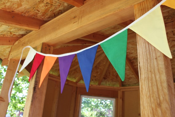 FABRIC BUNTING -- rainbow flag banner -- LDS young women garland