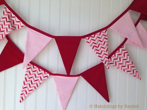 Birthday Decor Pennant Flags Pink Stripes Fabric Banner