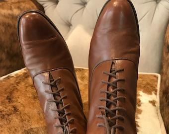 2d1c2323946e Fabulous vintage brown leather lace up flat boots-Sz5-5.5M