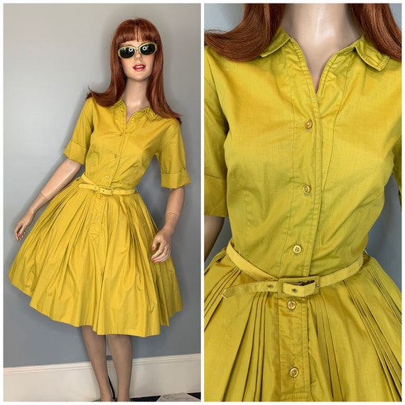 60s olive green shirtdress-Small