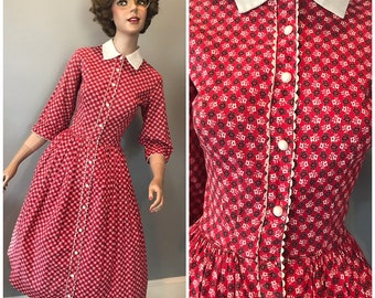 Country club frocks red cotton 50's day dress-Small