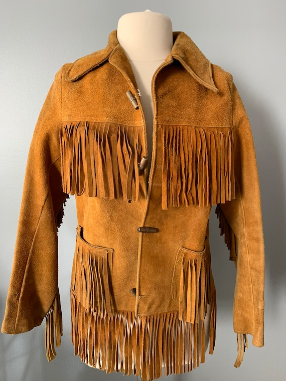 70s golden tan suede fringed jacket-Small