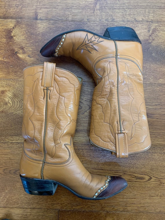 1960s Tony Lama brown rockabilly cowboy boots 5.5… - image 4