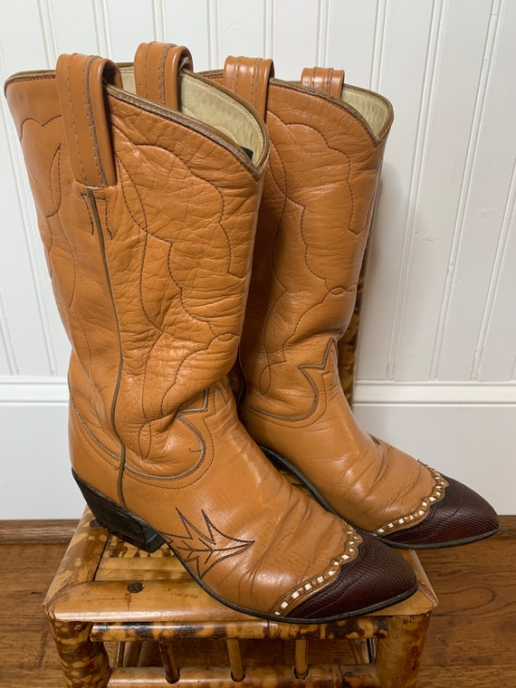 1960s Tony Lama brown rockabilly cowboy boots 5.5… - image 1