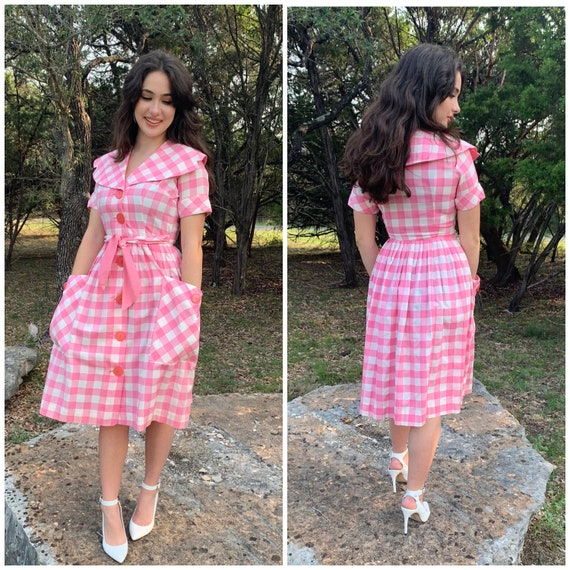 Darling 50s pink gingham cotton dress-Small