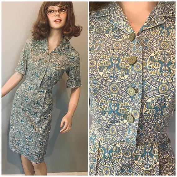 Vintage 40s bird motif cotton Juniors shirtwaist-S