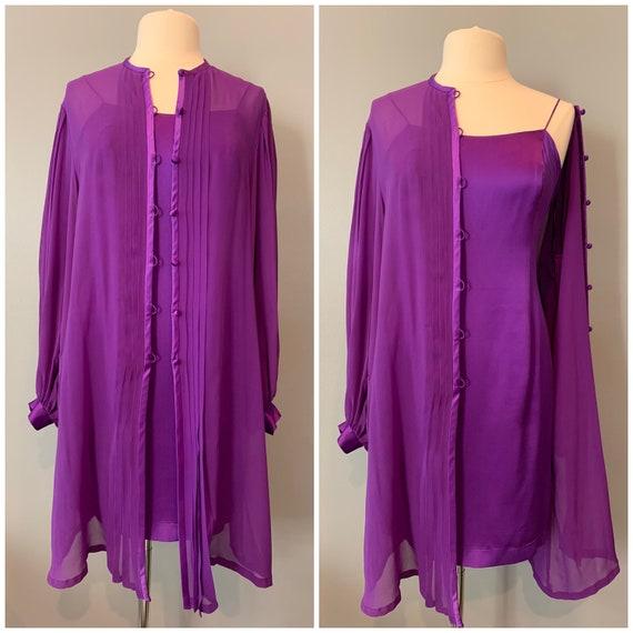 90s purple Albert Nipon silk slip dress and jacket