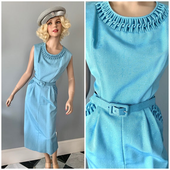 Fabulous Wedgewood blue moire wiggle dress-Large