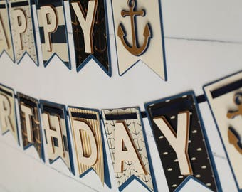 Nautical Birthday BannerNautical First BirthdayNautical Party DecorationsNautical PartyHappy BannerAnchor BannerGold