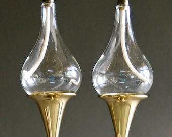 Vintage 1960s Graduated Freddie Andersen Style  Clear Drops Oil Lamp Set